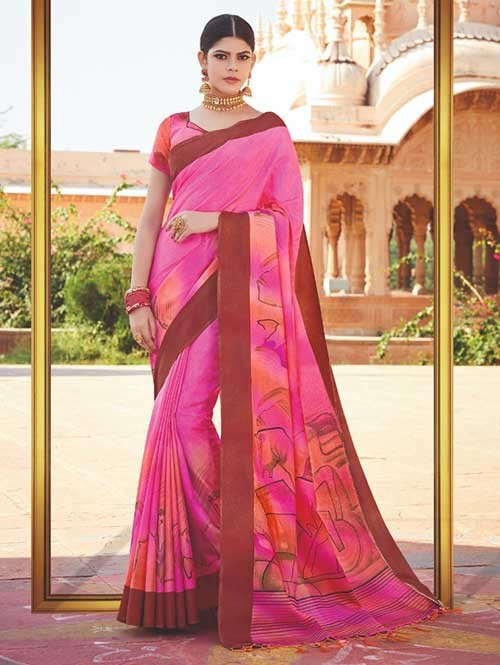 Branded Pink Colored Beautiful Hand-Printed Tussar Silk Saree