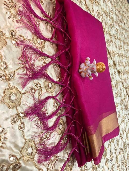 Branded Pink Colored Beautiful Organza Saree With Heavy Worked Blouse