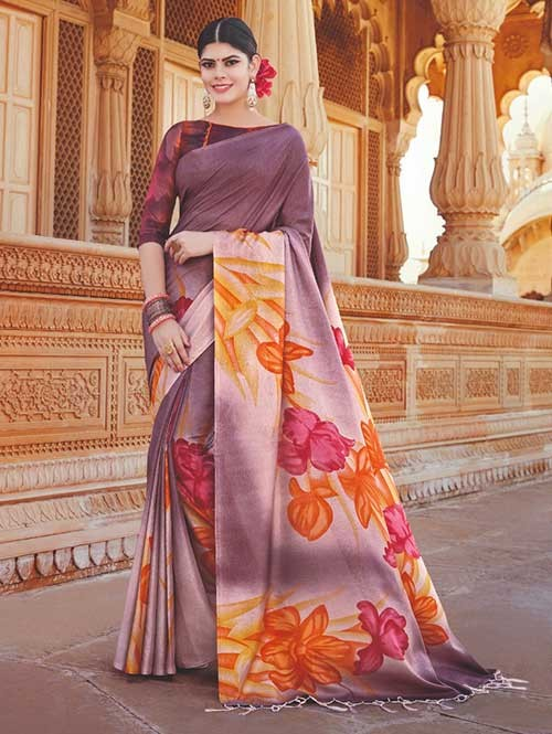 Branded Purple Colored Beautiful Hand-Printed Tussar Silk Saree
