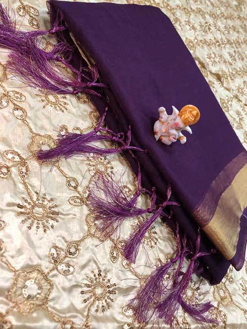Branded Purple Colored Beautiful Organza Saree With Heavy Worked Blouse