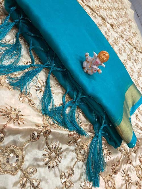 Branded Rama Colored Beautiful Organza Saree With Heavy Worked Blouse