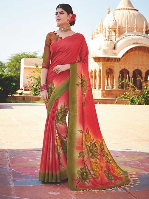 Branded Red Colored Beautiful Hand-Printed Tussar Silk Saree