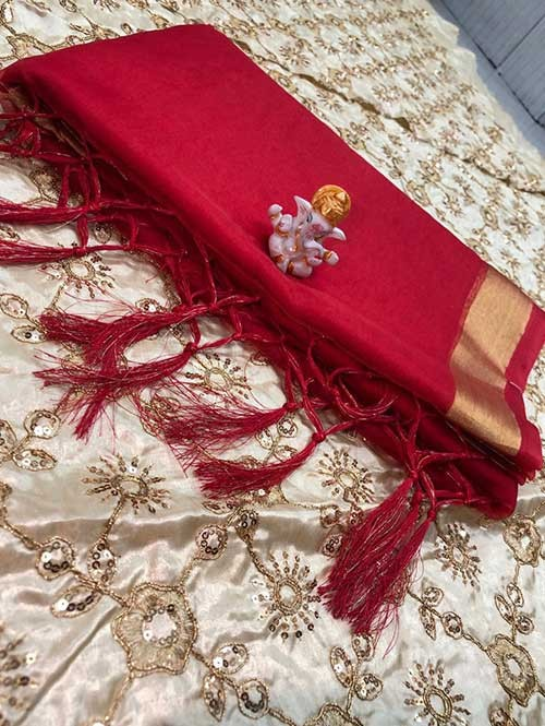 Branded Red Colored Beautiful Organza Saree With Heavy Worked Blouse