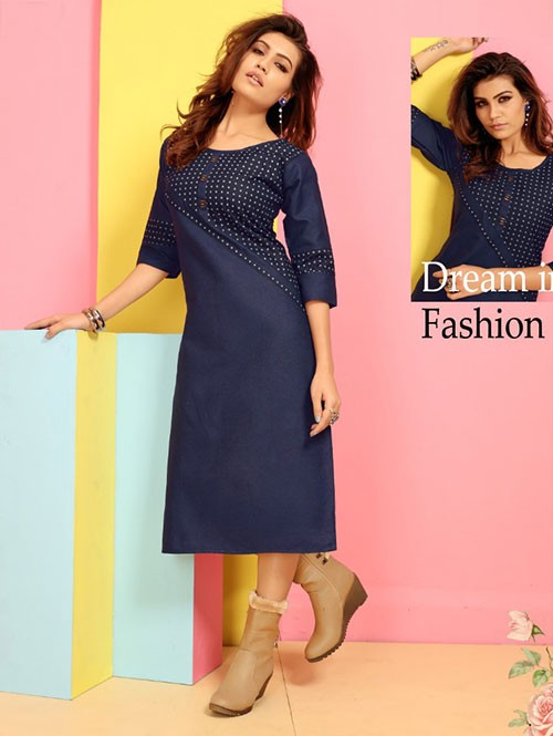 Branded Straight Cut Denim Stylist Kurti Online - Jeans