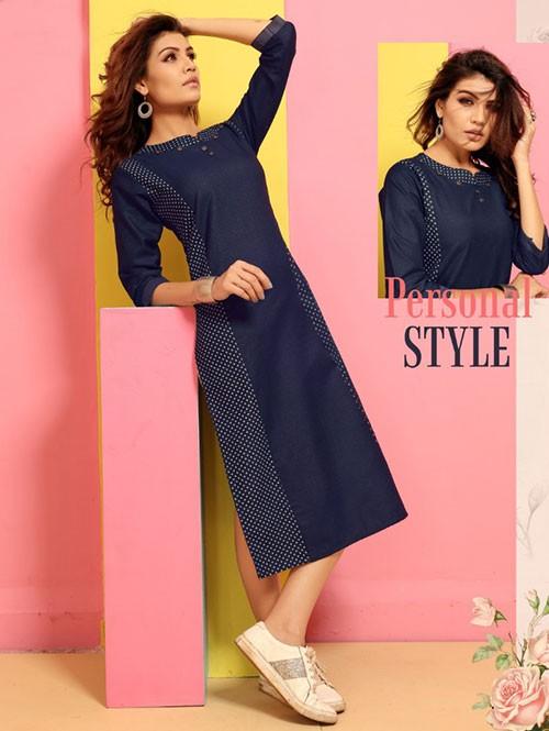 Branded Straight Cut Denim Stylist Kurti Online - Jeans