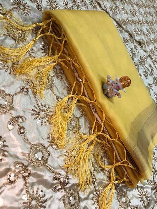 Branded Yellow Colored Beautiful Organza Saree With Heavy Worked Blous