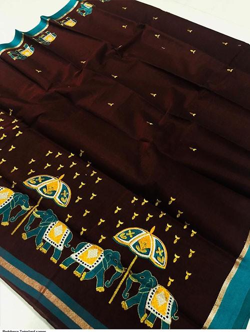 Brown Color Beautiful Weaving Cotton Saree - Twinsland