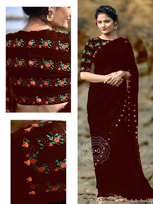 Brown Colored Beautiful 60gm Georgette Saree