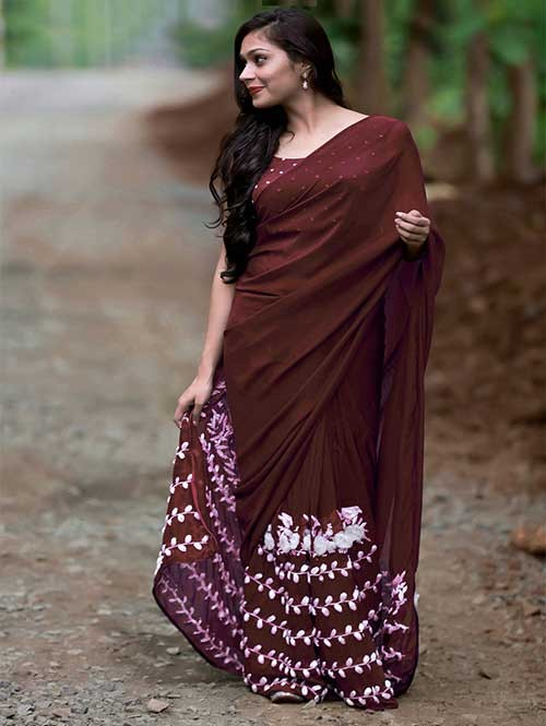 Brown Colored Beautiful 60gm Georgette Saree (