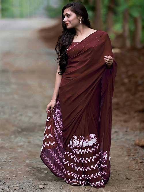 Brown Colored Beautiful 60gm Georgette Saree (