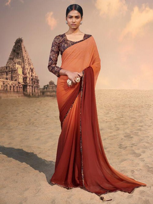 Brown Colored Beautiful Chiffon Shaded Color Saree With Printed Saree