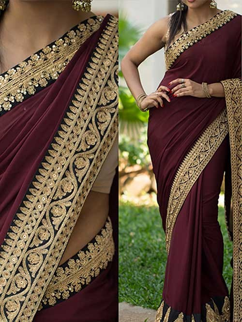 Brown Colored Beautiful Embroidered 60gm Georgette Saree
