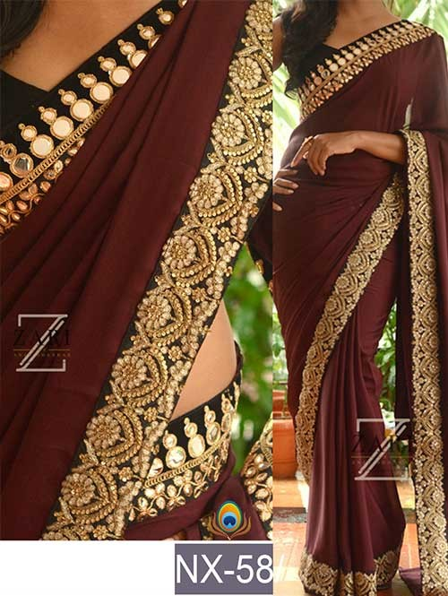 Brown Colored Beautiful Embroidered Border Georgette Saree