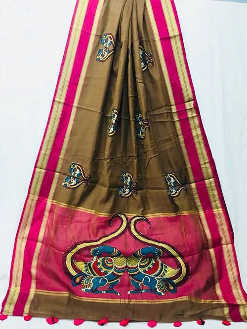 Brown Colored Beautiful Embroidered Cotton Saree
