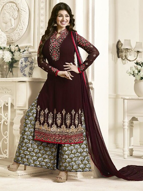 Brown Colored Beautiful Embroidered Georgette Salwar Suit