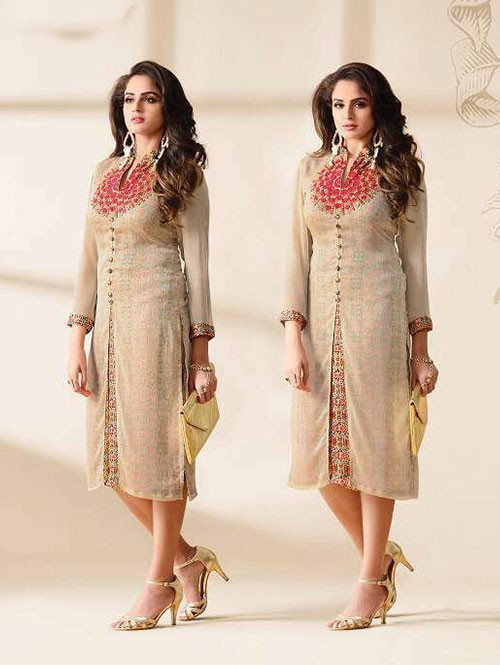 Brown Colored Beautiful Embroidered Georgette Stylist Kurti.
