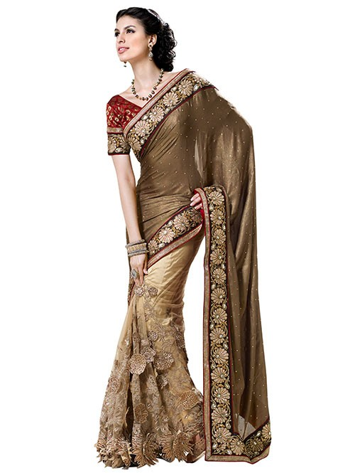 Brown Colored Beautiful Embroidered Pure Lycra Pallu With Net Patli Heavy Saree