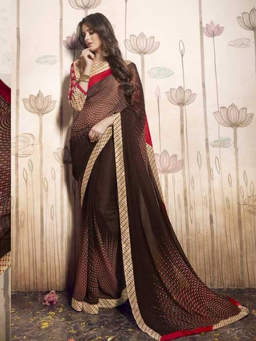 Brown Colored Beautiful Faux Georgette Saree with Printed Blouse.