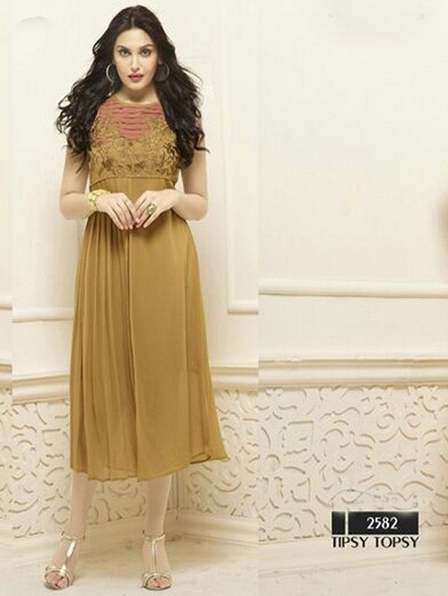 Brown Colored Beautiful Heavy Faux Georgette Designer Kurti.