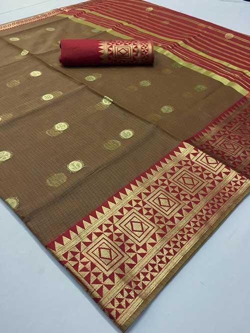 Brown Colored Beautiful Kota Silk Zari Weaving Saree Online