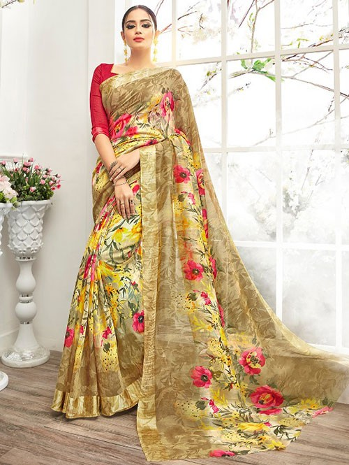 Brown Colored Beautiful Linen Cotton Saree With Authentic Handloom Art Prints Based On Mastered Art Of Weaving Fabrics