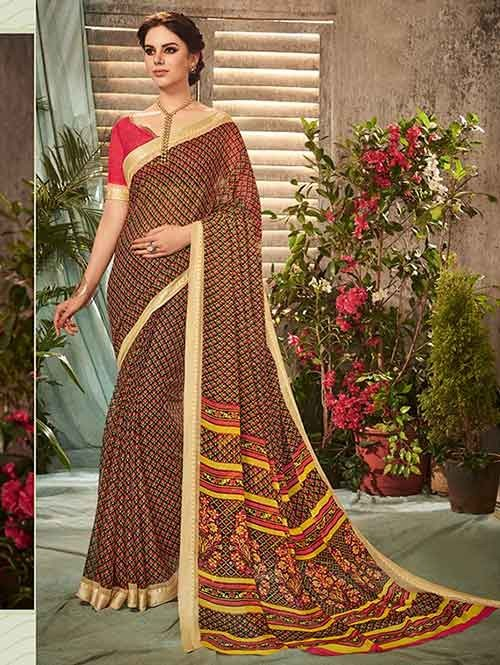 Brown Colored Beautiful Printed Chiffon Saree