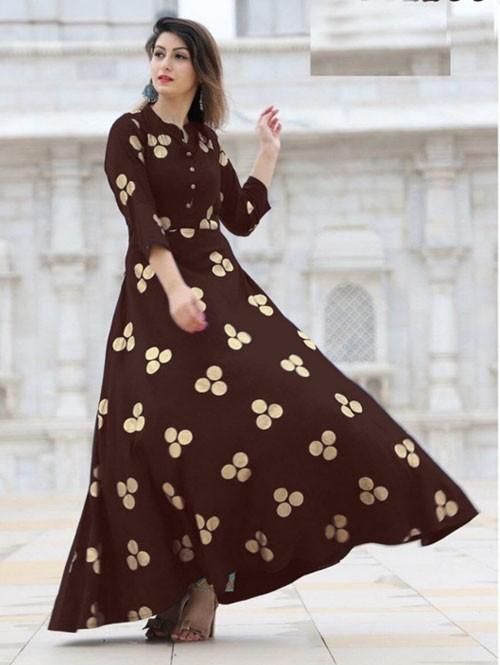 Brown Colored Beautiful Printed Indo-Western Rayon Kurti