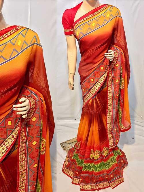 Brown Colored Beautiful Printed Pure chiffon soothe fabric Saree