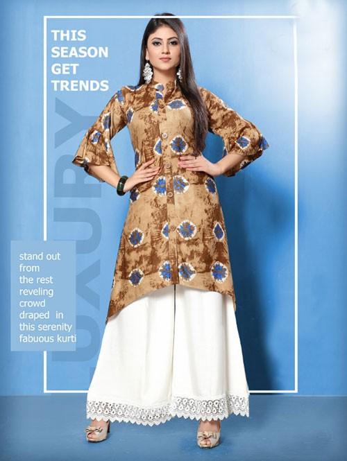 Brown Colored Beautiful Printed Shirt Style A-Line Rayon Kurti With Palazzo Set