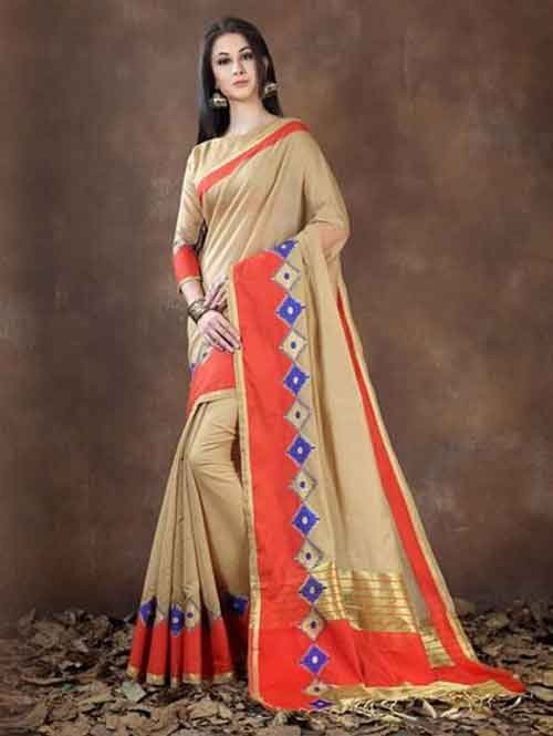 Brown Colored Beautiful Pure Soft Cotton Saree With Exclusive Latkan