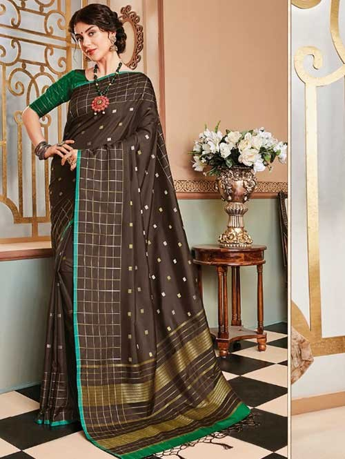 Brown Colored Beautiful Soft Silk Fancy Saree Online - Mishika