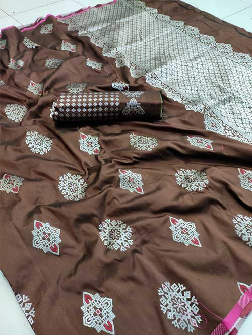 Brown Colored Beautiful Soft Silk Traditional Saree Online - Bhagyashree