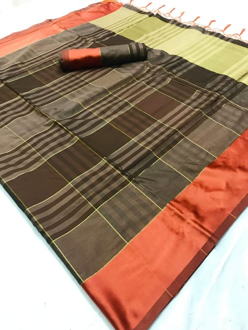 Brown Colored Beautiful Weaving Silk Saree - Tulika jashi