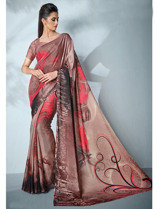 Brown Colored Digital Printed Cotton Bladed Saree