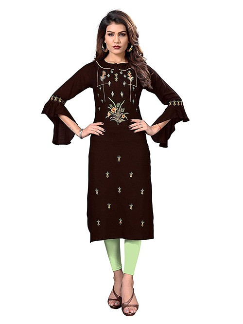 Brown Colored Embroidered Straight Rayon Kurti Online