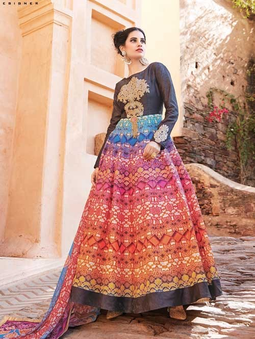 Brown colored Gorgeous Printed Nylon Silk Anarkali Suit.