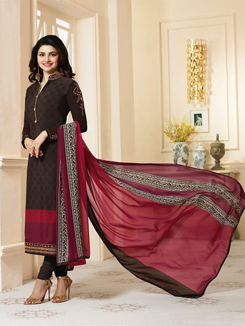Brown Colored Heavy Embroidered Royal Crepe Salwar Suit