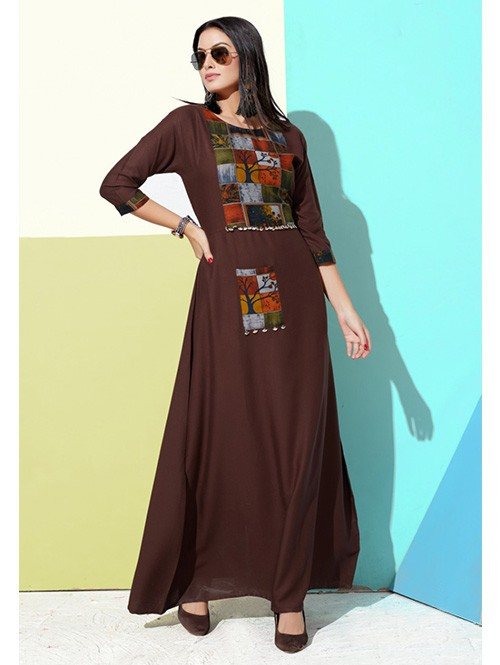 Brown Colored Printed A-Line Cotton Kurti Online