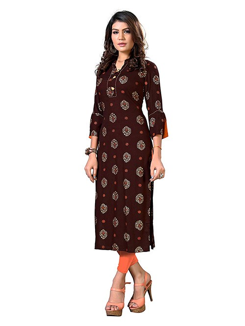 Brown Colored Straight Rayon Print Kurti Online