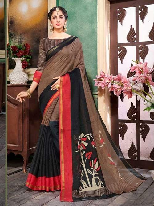Brown Colored Zari Chex Cotton Silk Saree - Vinamrta