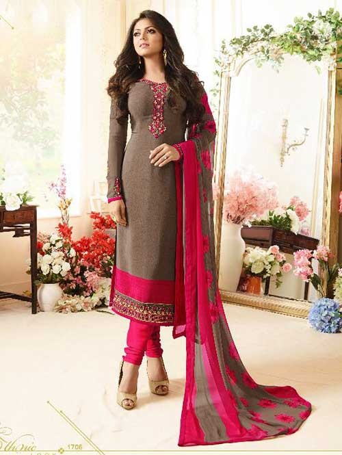 Brown Orange Colored Beautiful Embroidered French Creap Salwar Suit With Embroidery Work