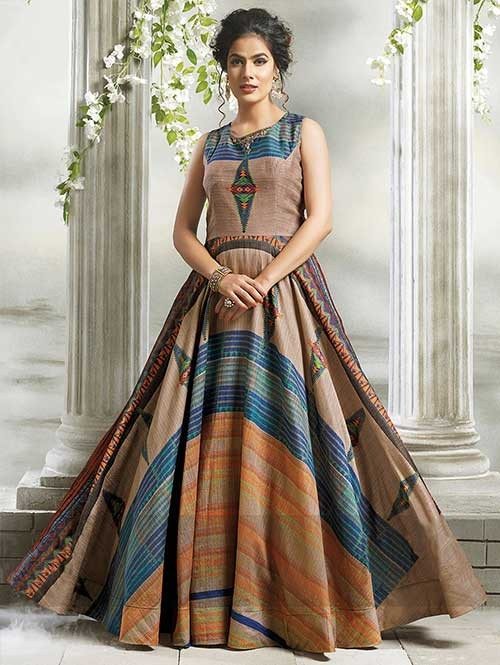 Buy Beige Colored Chanderi Cotton with Digital Print Long Gown