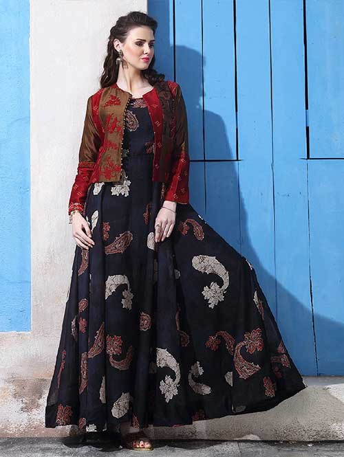 Buy Black Colored Chanderi Cotton with Digital Print Long Gown with Banglory Silk Koti