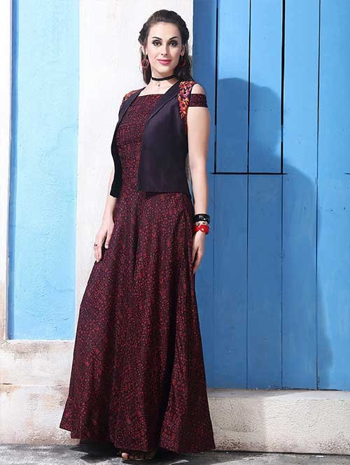 Buy Maroon Colored Chanderi Cotton with Digital Print Long Gown with Banglory Silk Koti