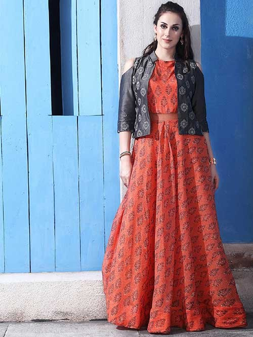 Buy Orange Colored Chanderi Cotton with Digital Print Long Gown with Banglory Silk Koti