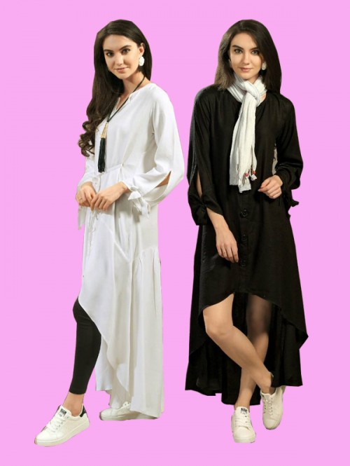 Black and white Color Designer Tunic Shirts with Knot Belt combo