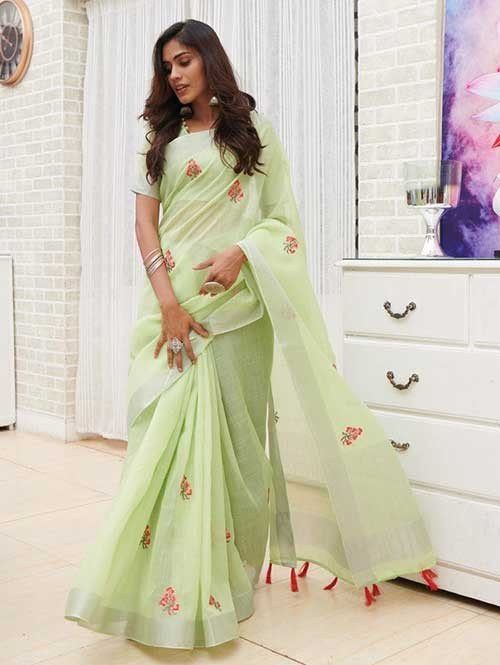 Green Colored Beautiful Embroidered Linen Saree