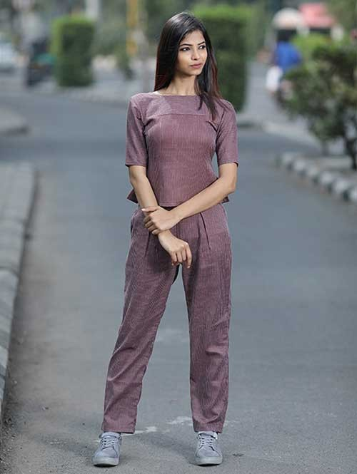 Cotton Set features Brown Colored Front Box Pleated top and long pants