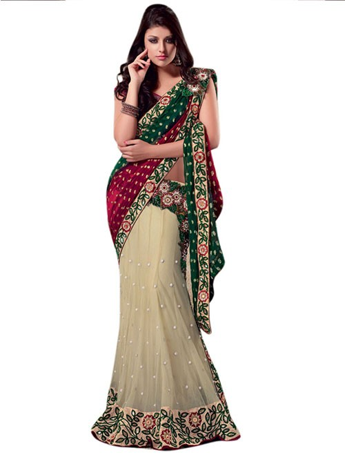 Cream and Green Colored Beautiful Embroidered Net Lehenga Saree