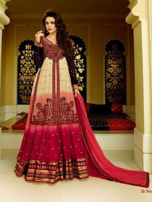 Cream and Red Colored Faux Georgette With Net Salwar Suit